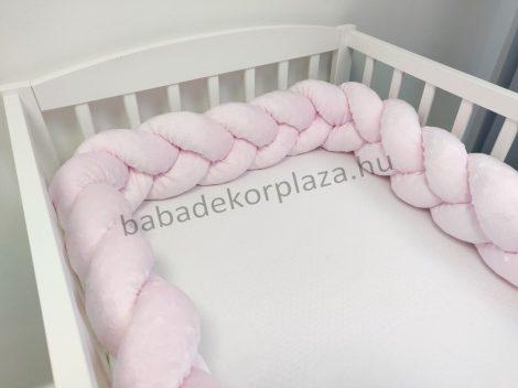 Fonott rácsvédő 60*120-as kiságy feléig érő - Minky világos rózsaszín