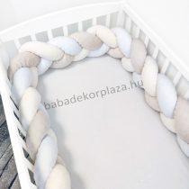Fonott rácsvédő 60*120-as kiságy feléig érő - Minky tricolor (mogyoró-vanília-fehér)