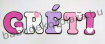 Dekorbetű 15 cm - Pillangós-szívecskés dekor, pink-fehér-lila - 1400 Ft/betű