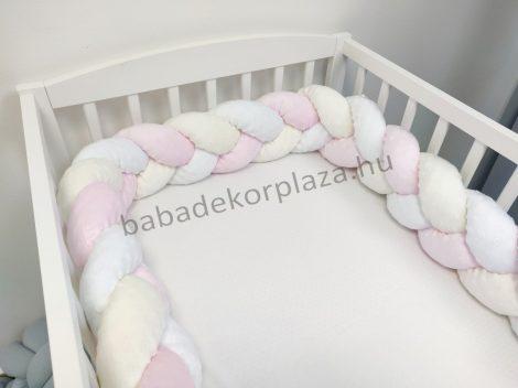 Fonott rácsvédő 70*120-as kiságy feléig érő - Minky tricolor (világos rózsaszín - vanília - fehér)