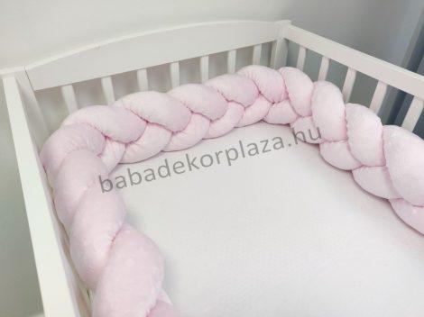 Fonott rácsvédő 70*120-as kiságy feléig érő - Minky világos rózsaszín