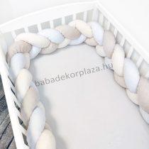 Fonott rácsvédő 70*120-as kiságyban körbeérő - Minky tricolor (mogyoró-vanília-fehér)